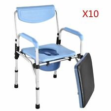 10X Adjustbale Fold Mobile Commode Chair Mobility Disability Toilet Stool Aid NE