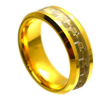 8mm Men & Ladies Gold Tungsten Carbide With Carbon Fiber Inlay Wedding Band Ring