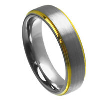6mm Men & Ladies Tungsten Carbide With Gold Plated Step Edge Wedding Band Ring