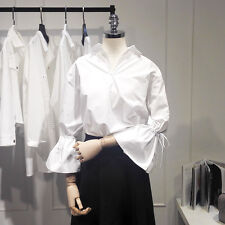 Lady White Shirt V Neck Collar Flare Drawstring Sleeve BF Loose Chic Blouse Top