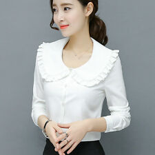 Ladies Ruffle Doll Collar Shirt Long Sleeve Button Slim Blouse White Work Top