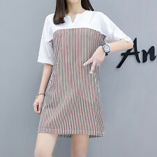 Women's Mixed Color Short Sleeve Striped Printed Casual Swing Dress Skirt