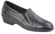 Mod Comfys Twin Gusset Wedge Leather Slip On Flexi Shoes Black Softie Leather