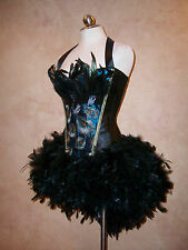 Deluxe Blue Peacock Blurlesque Showgirl Corset Feather Mini Skirt Costume Dress