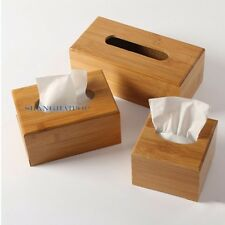 Bamboo Wood Tissue Paper Box Cover Case Holder Storage Home Office Retro Natural