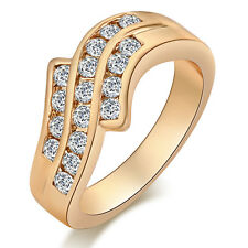 Fashion 18K Gold Filled Charm crystal Band Bride Curved Ring Size 7 8 9