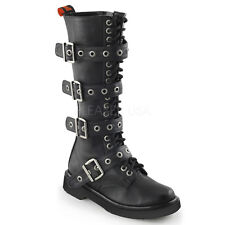 Demonia Rival-404 Black Vegan Leather Buckle Combat Boots - Gothic,Goth,Punk,Bla