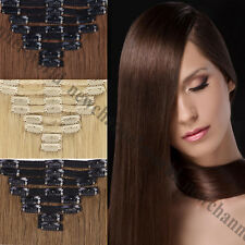 Real Long Clip in 100% Human Hair Extensions Full Head 140G THICK Cloth Weft B49