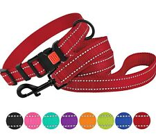 Nylon Dog Collar Optional 4 or 6 ft Leash Lead Puppy Small Medium Large Pink Red