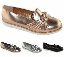 New Womens Plain Flats Slip On Bow Knot Brogue Casual Formal Shoes