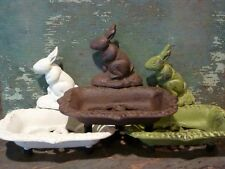 Cast Iron Rabbit Soap Business Card Dish Sponge Holder Home Kitchen Bath Decor