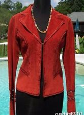 Cache Suede Leather Peek-A-Boo Crochet Insert Jacket Top New XS/S Rust $248 NWT