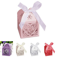 10/50/100 Hollow Love Favor Ribbon Gift Candy Boxes Wedding Party Decor Pack Bag