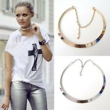 Fashion Curved Mirrored Metal Collar Bib Choker Necklace Punk Exaggerated