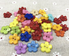 50/100pcs Resin buttons Mixed color Sewing Scrapbooking 2-Holes Flowers 15mm