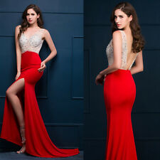 BEAD Mermaid RED Long Formal Gown Wedding Party Cocktail Evening Prom Dress 2017