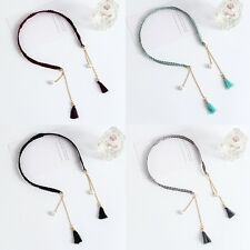 Women Girls Pretty Flower Pearl Fake Tassel Earring Hair Band Headband Hair Hoop