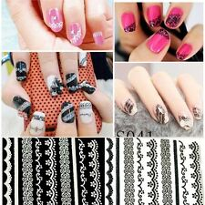 Manicure Tips DIY Decoration Design Black White Lace 3D Nail Art Stickers