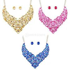 Full Cluster Rhinestone Crystal Earrings Necklace Set Bridal Lady Party Jewelry
