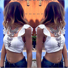 Summer Womens Sexy Backless Strappy Bra Crop Top Chiffon Blouse Halter Vest Tank