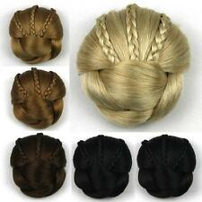 Women's Braided Clip In Synthetic Hair Bun Chignon Donut Roller Hairpieces DH104