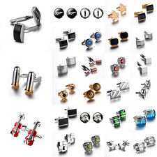 Mens Crystal Gold Silver Stainless Steel Cuff Links Wedding Party Gift Cufflinks