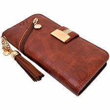 Womens Brown PU Leather Tassel Flip Wallet Case Cover Card Holder for iPhone 7 6