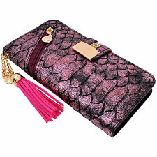 Snake Skin Pink PU Leather Zipper Flip Wallet Purse Case Card Holder for iPhone