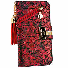 SnakeSkin Red PU Leather Tassel Flip Wallet Case Cover Card Holder for iPhone 7