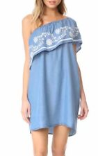 New Womens Floral Embroidered Blue Jeans Denim One Shoulder Mini Dress SML