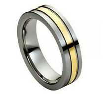 6mm Men & Ladies Tungsten Carbide Gold Plated Center Pipe Cut Wedding Band Ring