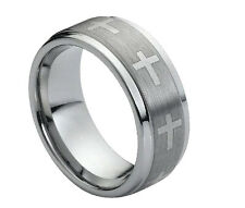 9mm Men & Ladies Tungsten Carbide Step Edge With Cross Wedding Band Ring
