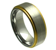 8mm Men & Ladies Tungsten Carbide Gold Plated Step Edge Wedding Band Ring