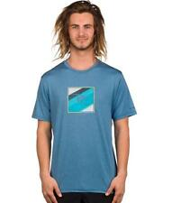 Rip Curl Mens SQUARED UP Surf Shirt UV Tee QUICK DRY Rash Vest - WLUGKM Blue