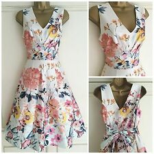 NEW EX BHS WHITE PINK NAVY YELLOW PEACH FLORAL OCCASION PARTY DRESS SIZE 10 & 18