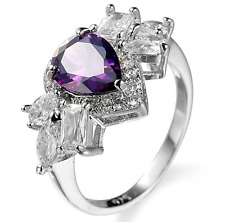 Natural 1.1CT Love Heart Amethyst 925 Silver Wedding Engagement Ring Size 6-10
