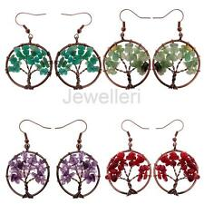 Tree of Life Rainbow Gemstone 7 Chakra Crystal Earrings with Bronze Wrap Beads