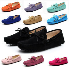 Womens Shoes Suede Leather Loafers Slip on Bow-knot Soft Casual Penny Moccasins