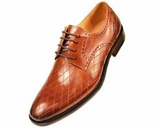 Asher Green Mens Contemporary Tan Genuine Leather Quilted Plain Toe Oxford Dress