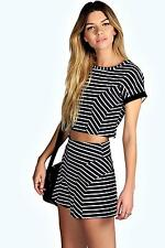 NEW Boohoo Womens Sinead Crop Top And Shorts Co-Ords Set in Polyester