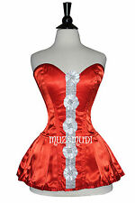 Red Satin White Laced Real Steel Bones Lace up Back Full Bust Skirt Corset