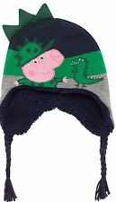 Peppa Pig Boys George & Dino Fleece Lined Navy Green Trapper Hat  Age 1/3 Years