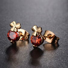 Hot Womens   gold filled Clover  Crystal crystal Stud Earrings Party