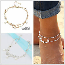 Fashion Women Gold/Silver Plated Double Cross Pretty Travel Anklet Chain Jewelry