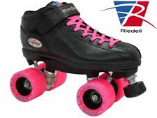 Riedell R3 Back & Pink Quad Roller Derby Speed Skates - Demon Wheels w/ Groove