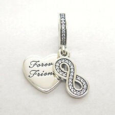 Authentic Genuine S925 Sterling Silver Forever Friends Dangle Clear CZ Charm