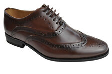 Boys New Leather Lined Brown Lace Up Oxford Brogue Shoes 6 7 8 9 10 11 12