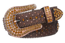 Snap On Western Sunflower Cowgirl Rhinestone Studded Leather Belt