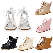 Toddler Girl Boy Gladiator Sandals Lace Up Roman Hollow Out Summer Boot Shoes