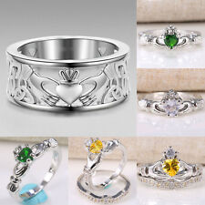 Irish Claddagh Celtic Ring 925 Silver Heart Forever Wedding Engagement Size 6-10